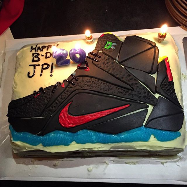 Sensational Lebron James Sneaker Designer Received A Lebron 12 Cake For His Funny Birthday Cards Online Alyptdamsfinfo