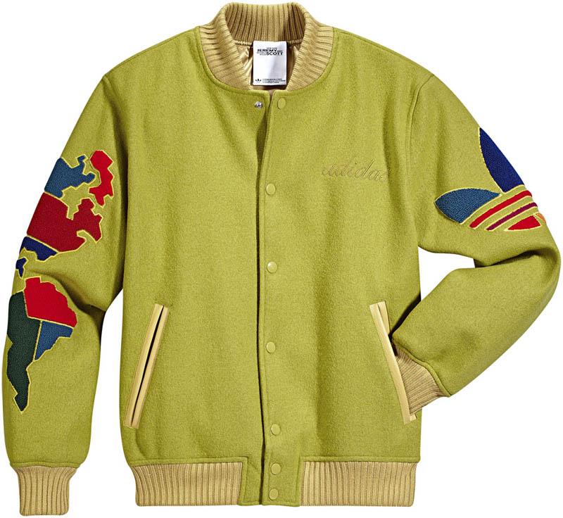 adidas originals by jeremy scott js globe varsity jacket. Black Bedroom Furniture Sets. Home Design Ideas