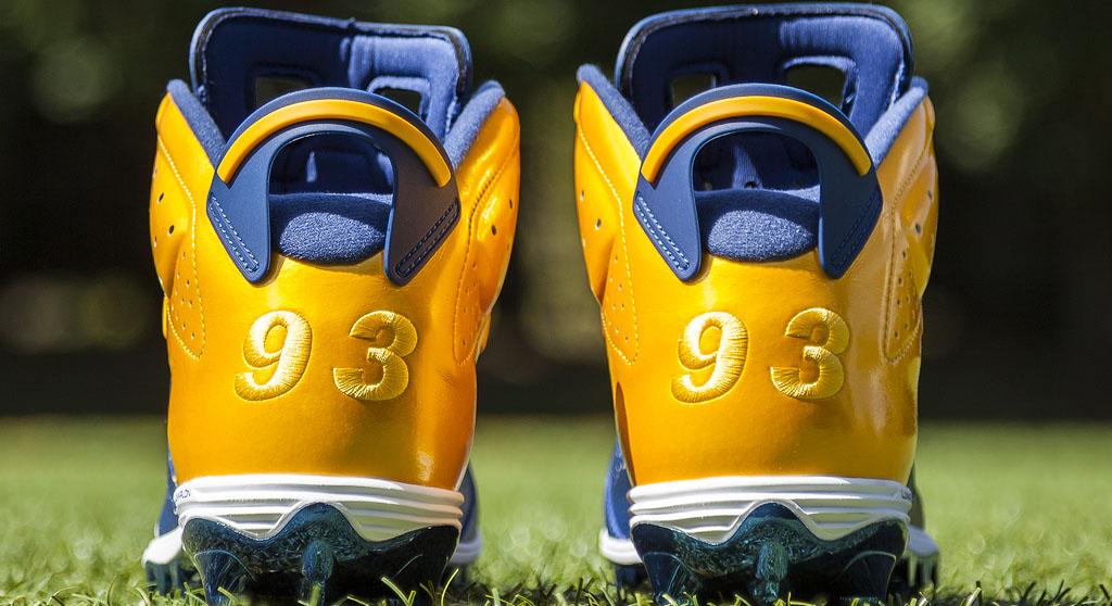 Dwight Freeney's Air Jordan VI 6 Chargers PE Cleats (2)