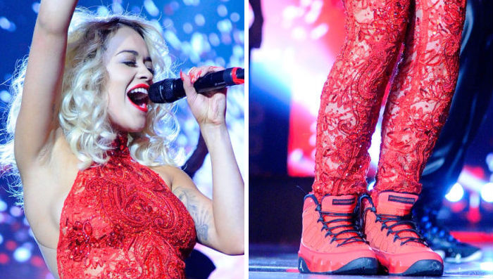 Rita Ora wearing Air Jordan IX 9 Motorboat Jones