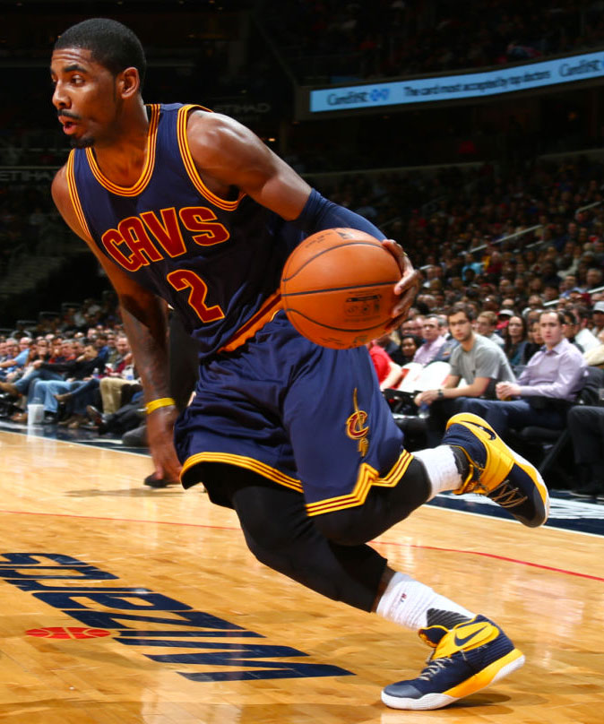 Kyrie Irving wearing a Navy/Yellow Nike Kyrie 2 PE (1)