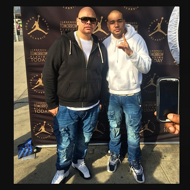 Fat Joe wearing Air Jordan XII 12 Taxi; DJ Envy wearing Air Jordan XII 12 Obsidian