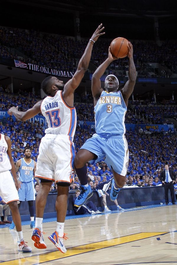 Ty Lawson wearing the Nike LeBron 8 V/2; James Harden wearing Nike Zoom Kobe VI iD