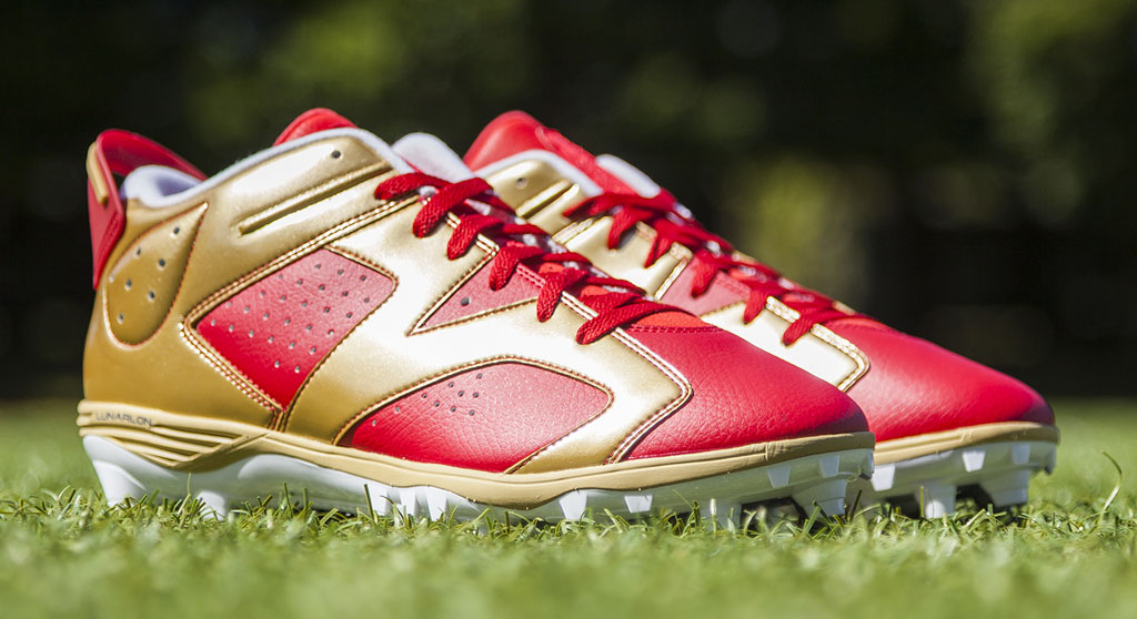 Michael Crabtree's Air Jordan VI 6 49ers PE Cleats (1)