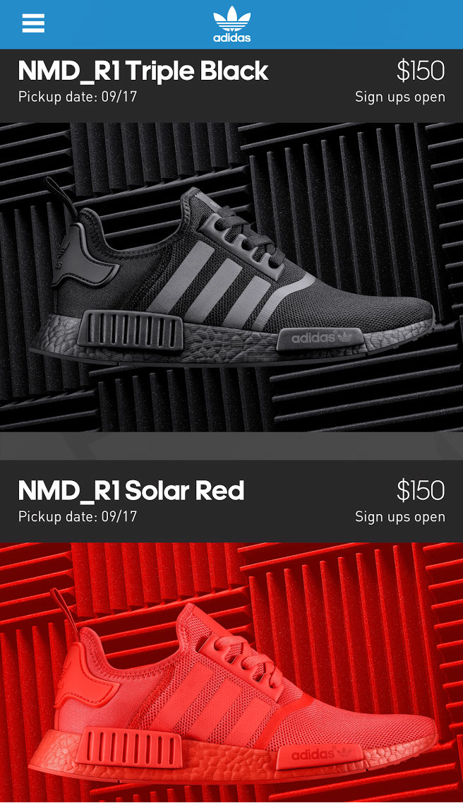 d6387ecac adidas NMD Black   Solar Red on the Confirmed App