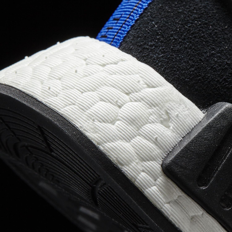Adidas NMD Black Suede Blue Heel Detail