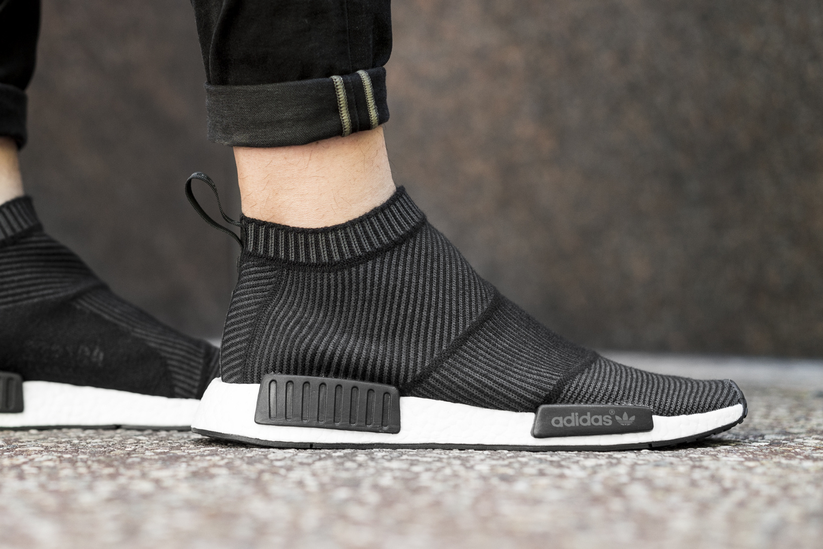 c5be4fe4e Adidas NMD City Sock Black White On Feet 01