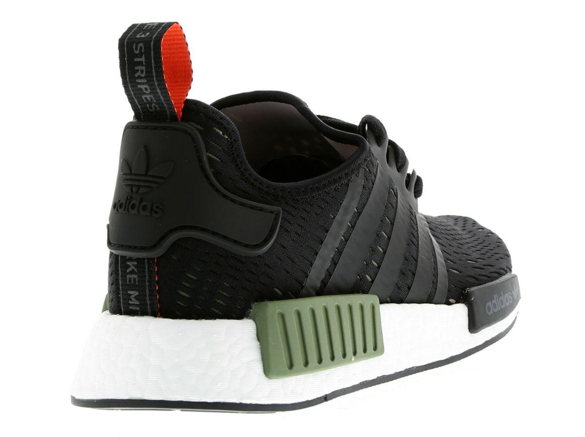 adidas NMD R1 Base Green Core Black White Heel