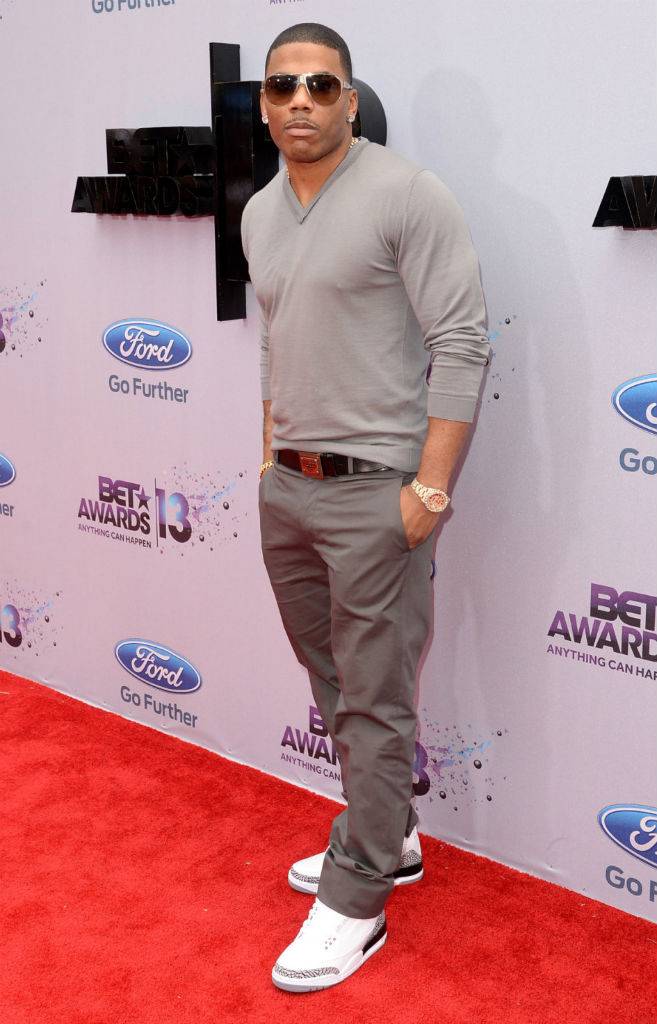 Nelly wearing Air Jordan III 3 Retro '88 Cement (1)