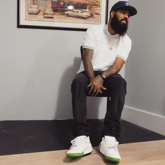 Stalley wearing the 'Wimbledon' fragment x Nike Air Trainer 1