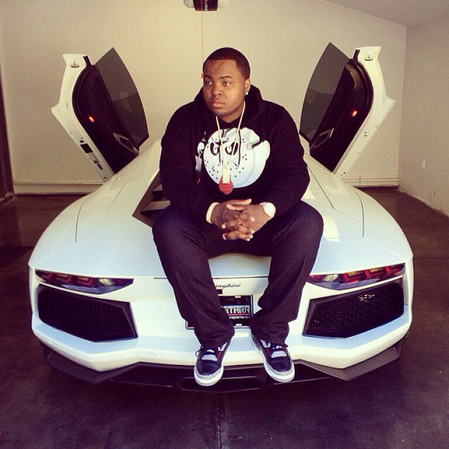 Sean Kingston wearing Air Jordan 3 III Retro Black Cement