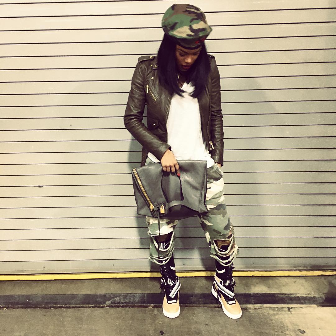 Teyana Taylor Wearing the 'Beige' Nike Air Force 1 High RT