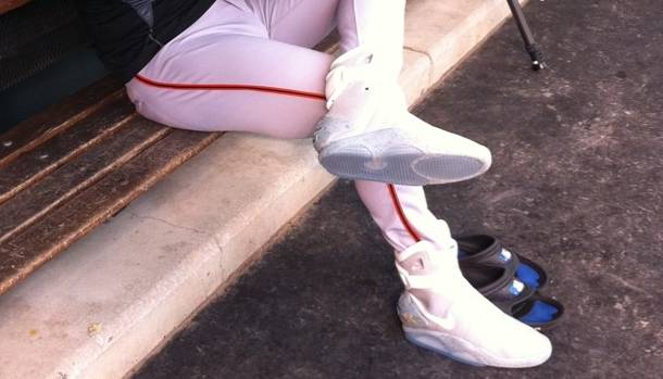 San Francisco Giants Pitcher Brian Wilson Wears Back to the Future Nike MAG Shoes at Practice
