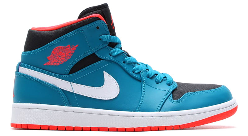 Air Jordan I 1 Mid Tropical Teal/Infrared 23-Black-White 554724-308 (1)