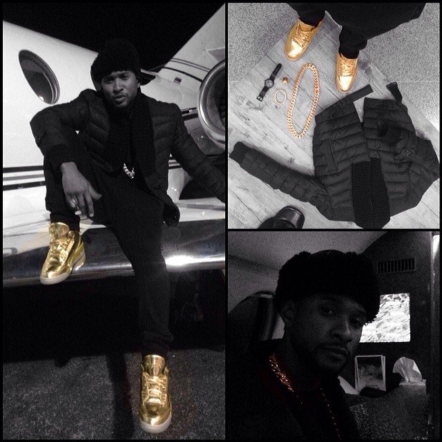 Usher wearing Air Jordan 3 Gold