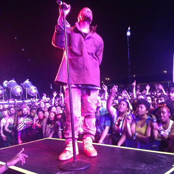 Kanye West wears Nike Air Yeezy 2 All-Red at Governor's Ball (4)
