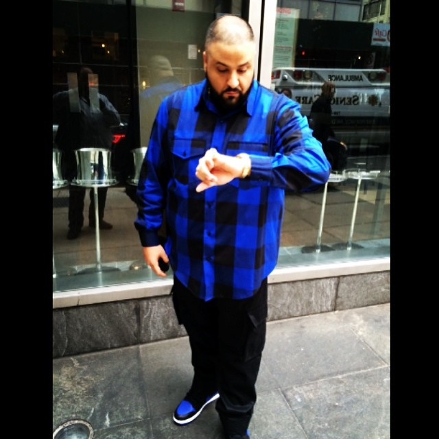 DJ Khaled wearing Air Jordan 1 Retro Royal