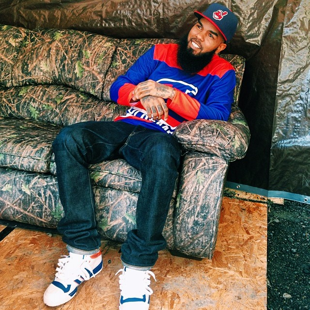 Stalley wearing adidas Originals Attitude Hi Knicks