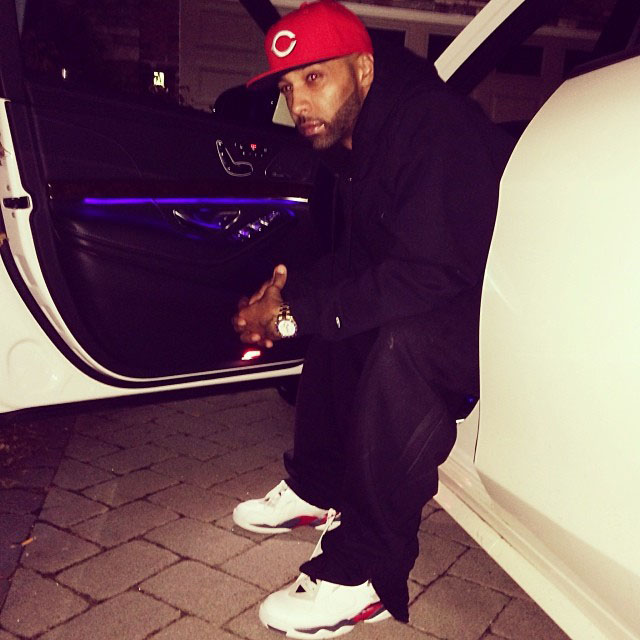 Joe Budden wearing Air Jordan 8 Retro Bugs