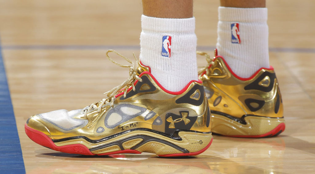 Kent Bazemore wearing Under Armour Anatomix Spawn Low Awards Season PE