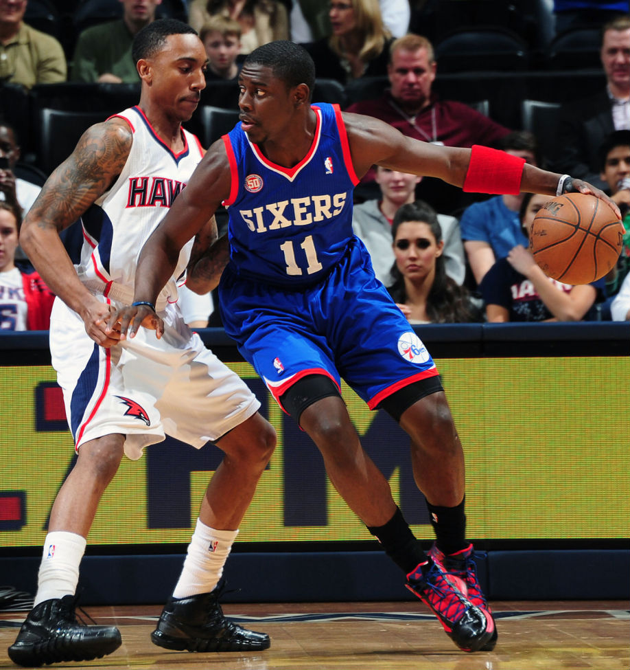 Jeff Teague wearing adidas Crazyquick Blackout; Jrue Holiday wearing adidas Crazy Fast PE