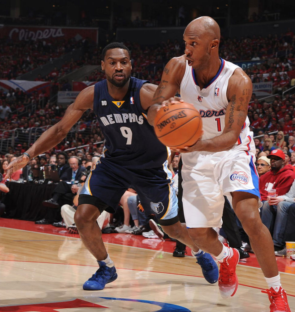 Chauncey Billups wearing adidas Crazy Fast; Tony Allen wearing adidas Rose 3