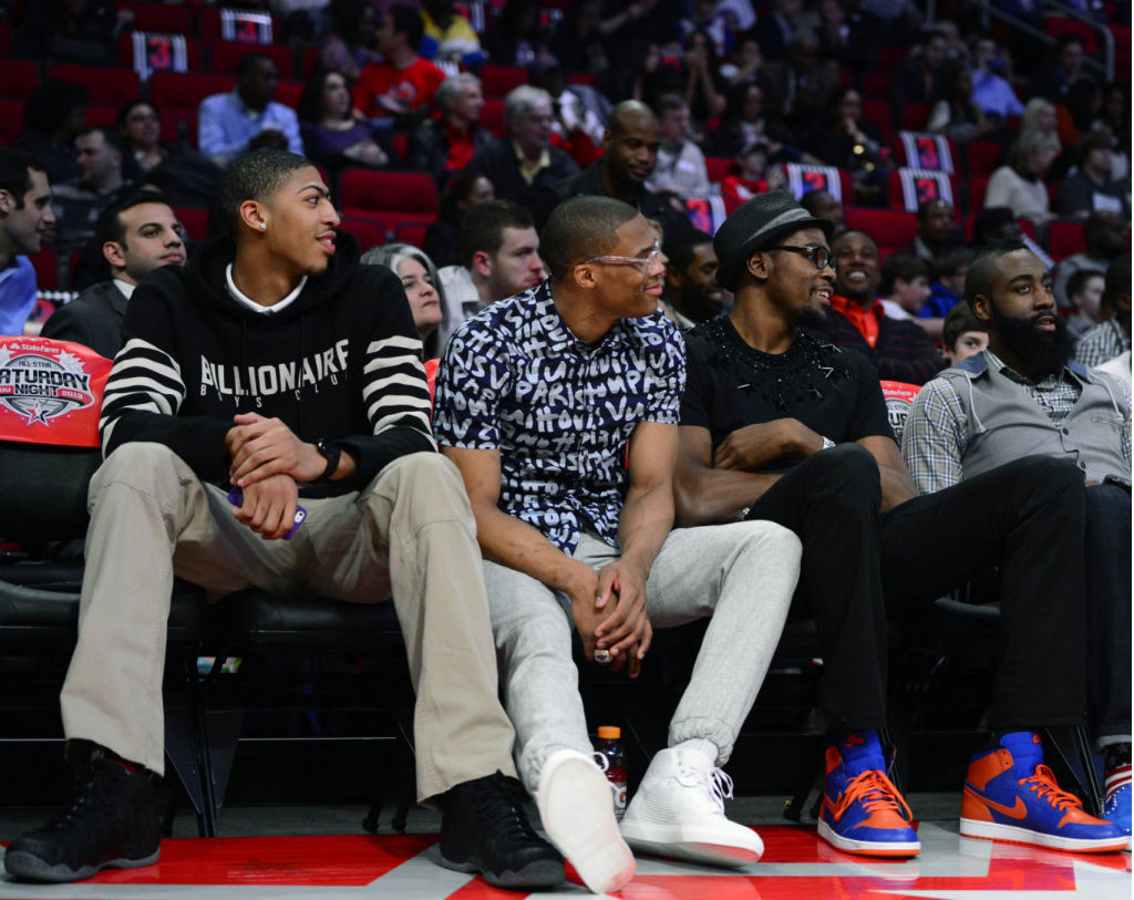 Anthony Davis wearing Nike Air Foamposite One Stealth; Russell Westbrook wearing Balenciaga Cotes High; Kevin Durant wearing Air Jordan Retro I 1 High OG Knicks