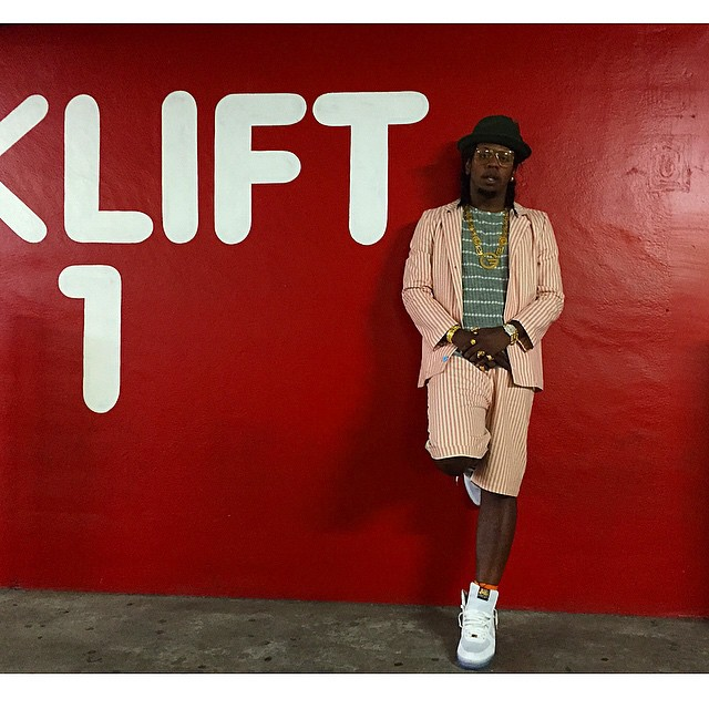 Trinidad James wearing the 'E Pluribus Unum' Nike Air Force 1 High