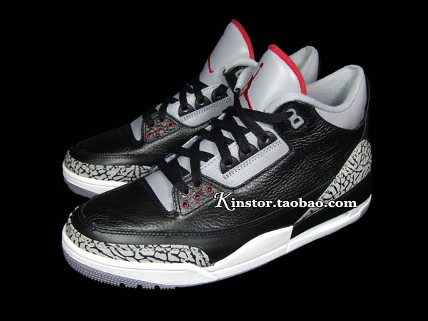 Air Jordan Retro 3 - Black Varsity Red-Cement Grey - New Images ... 32f5cb46dc