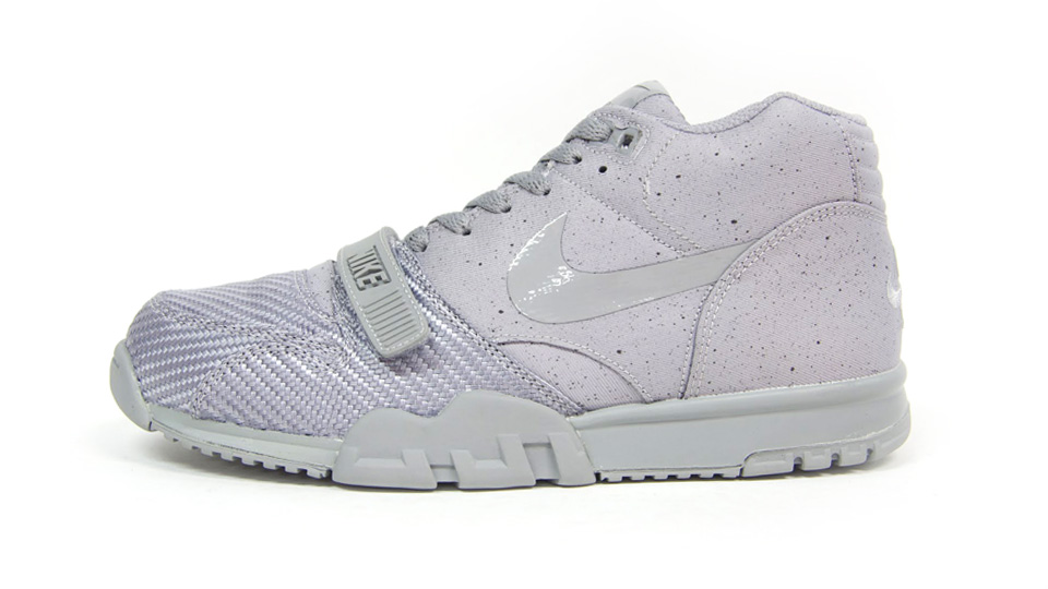 Nike Air Trainer 1 Mid SP Monotones pack in silver and midnight fog profile