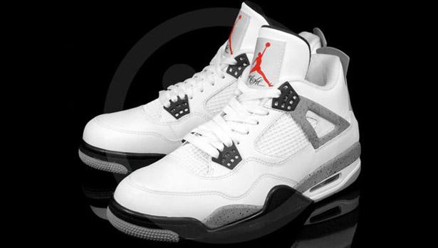 Air Jordan Iv Retro Blanc / Noir Gris-tech