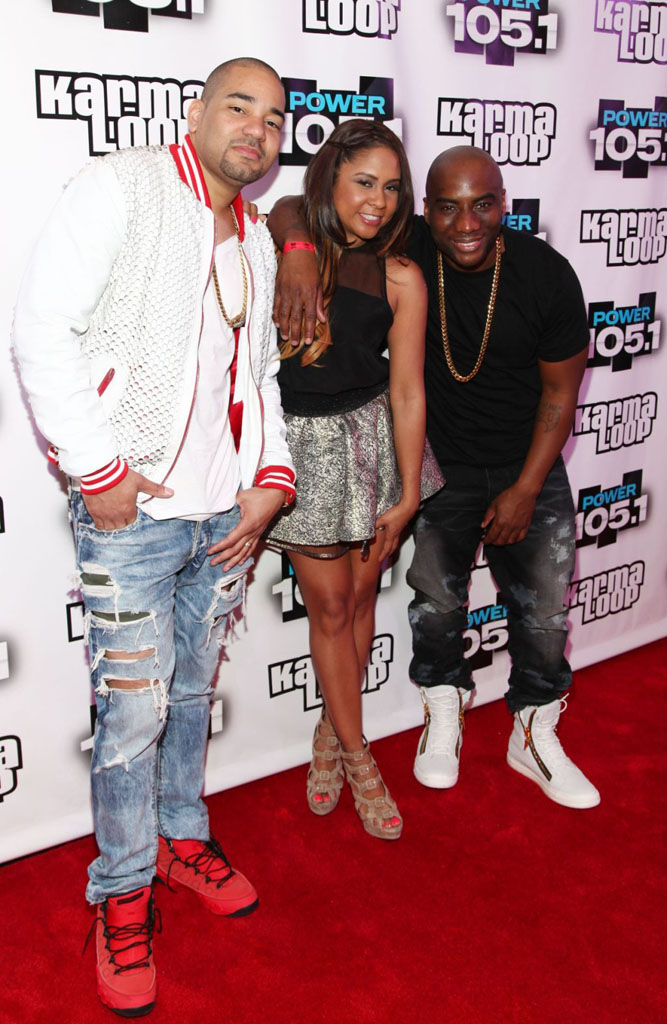 DJ Envy wearing Air Jordan 9 IX Retro Motorboat Jones; Charlamagne Tha God wearing Giuseppe Zanotti Sneakers