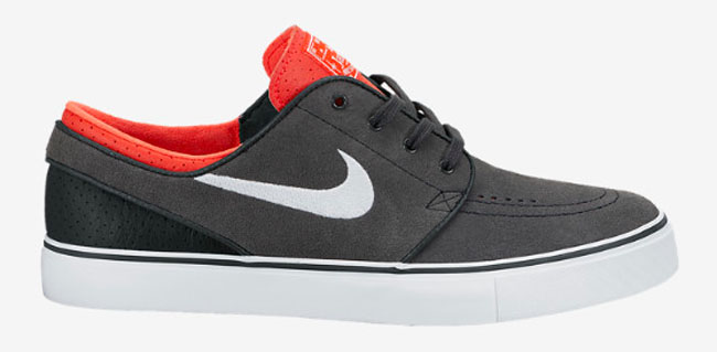 Nike SB Stefan Janoski Anthracite Laser Crimson Sneakers (Anthracite/White-Laser Crimson-Black)