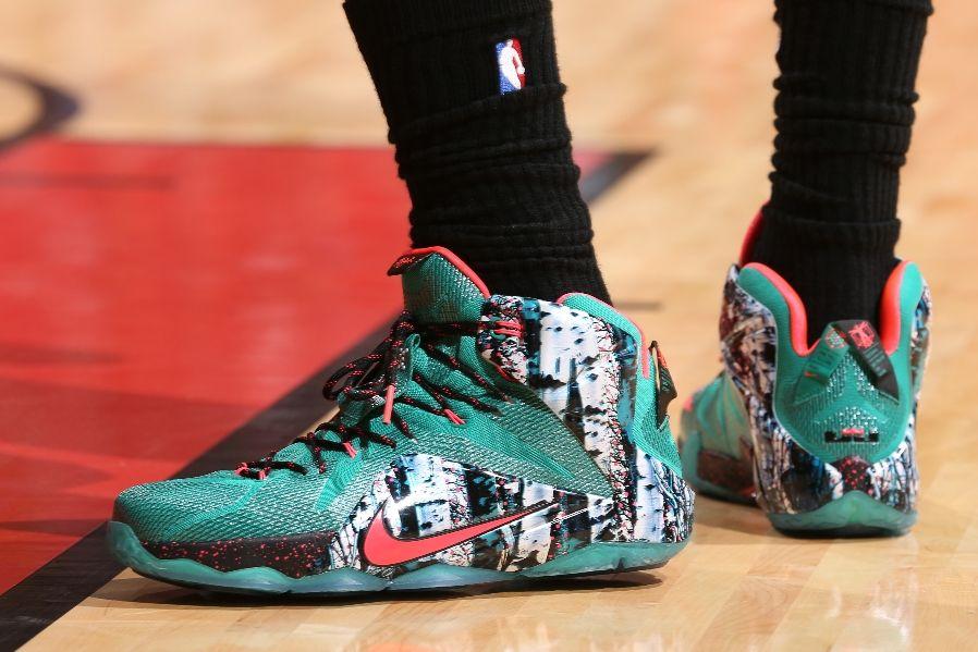 check out b5f7b 92e7e LeBron James wearing Nike LeBron XII 12 Akron Birch (2)