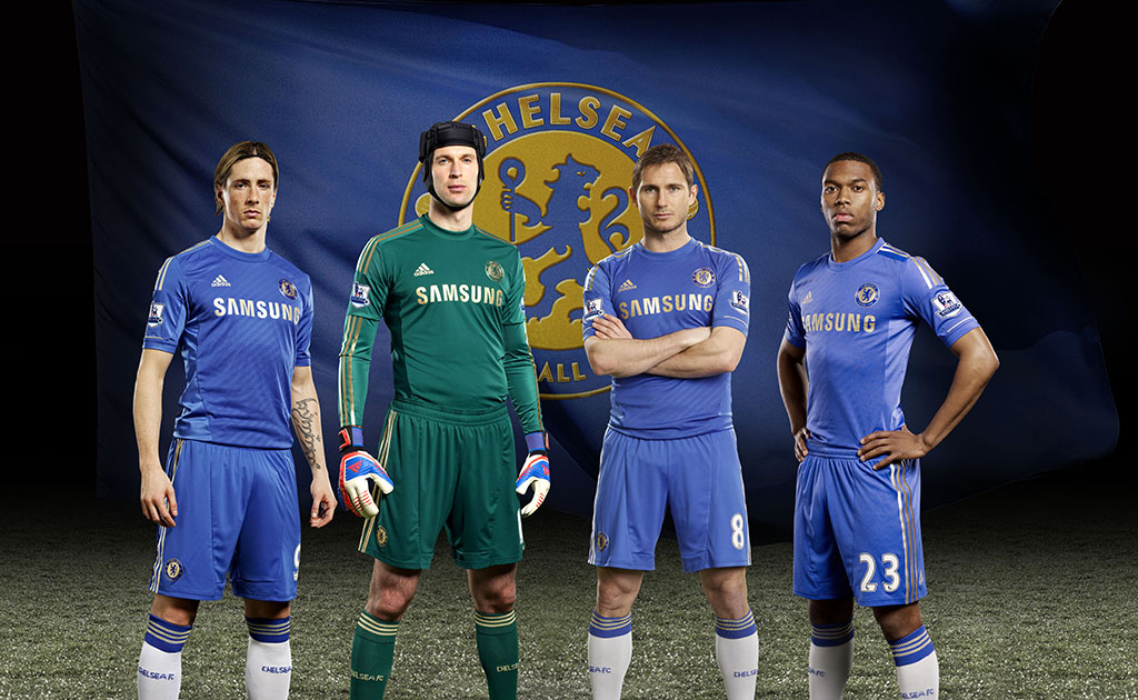 super popular 958b9 13756 New Chelsea Football Club Home Kit by adidas Trimmed with ...