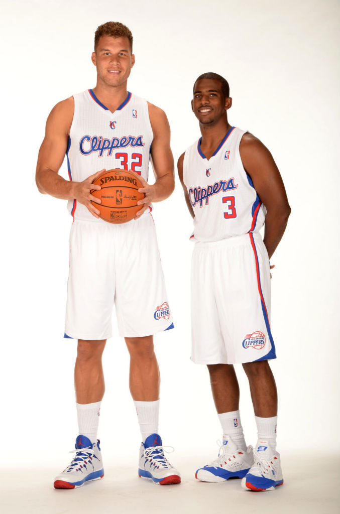 Blake Griffin wearing Jordan Super.Fly 2 PE; Chris Paul wearing Jordan CP3.VII