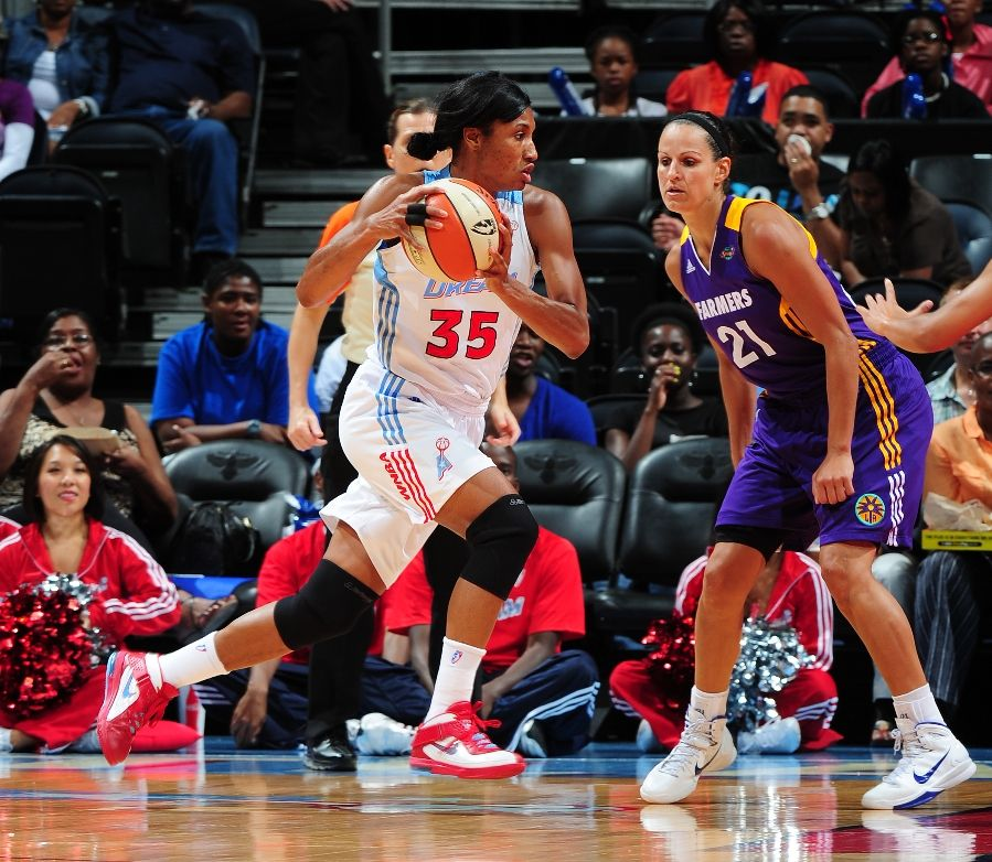 Angel McCoughtry wearing Nike Air Max Soldier V