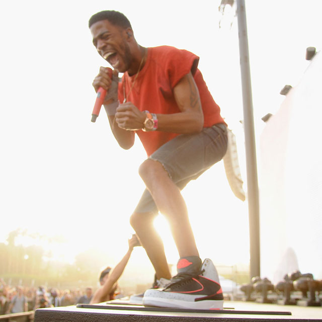 Kid Cudi wearing Air Jordan II 2 Infrared