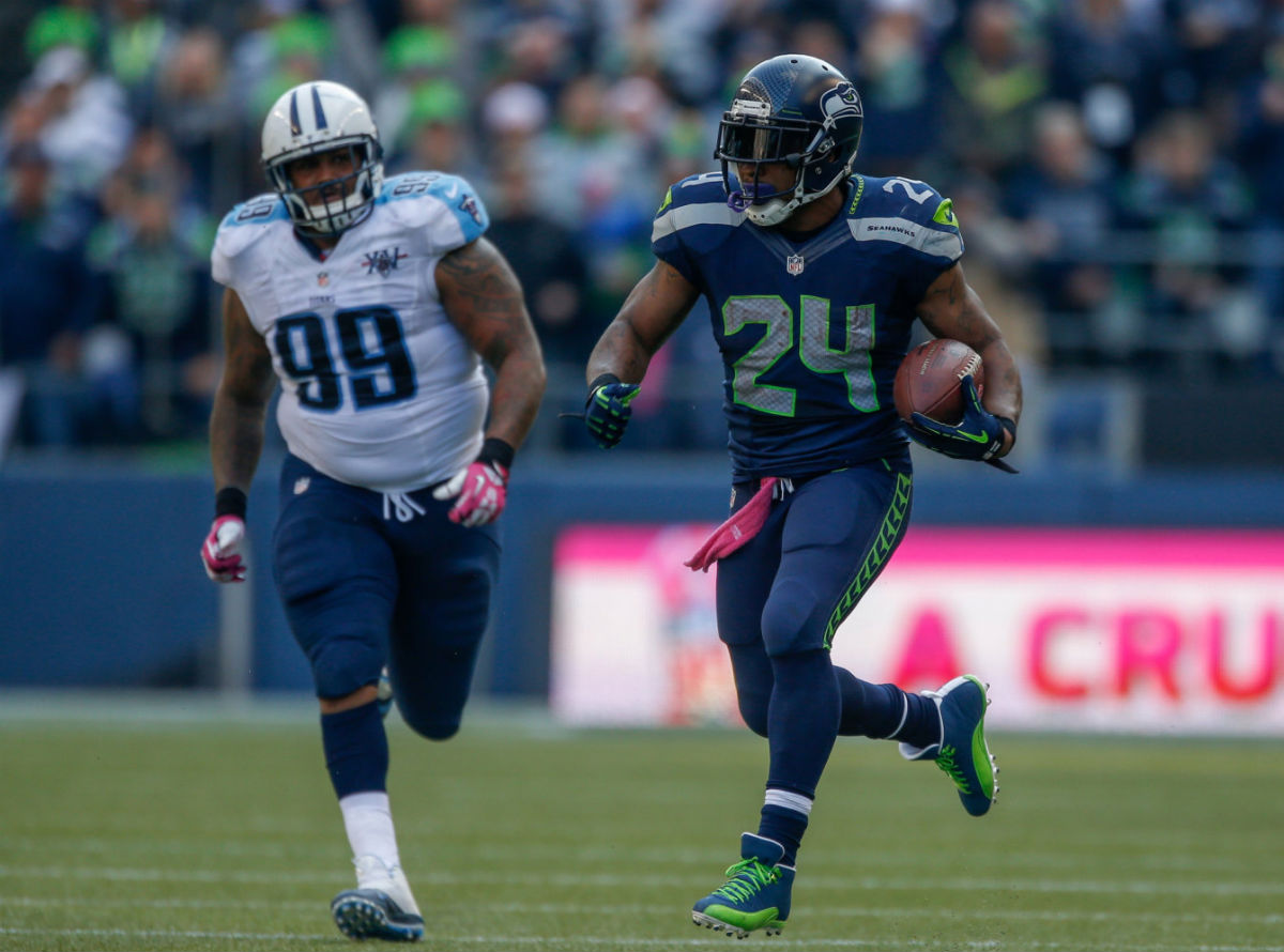 Marshawn Lynch Wears Air Jordan 12 XII PE Cleats (2)