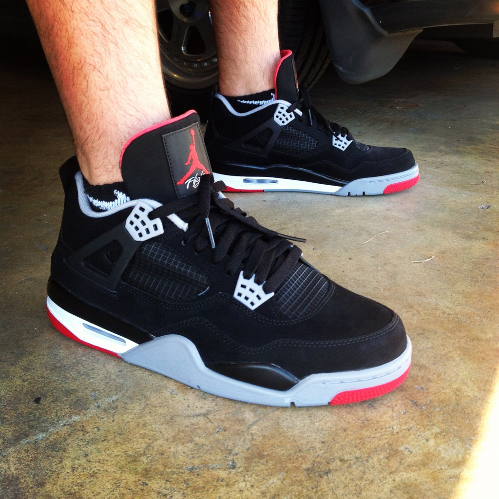 watch 1ed0e 54b7a get air jordan 4 black cement on feet 16c95 f3961