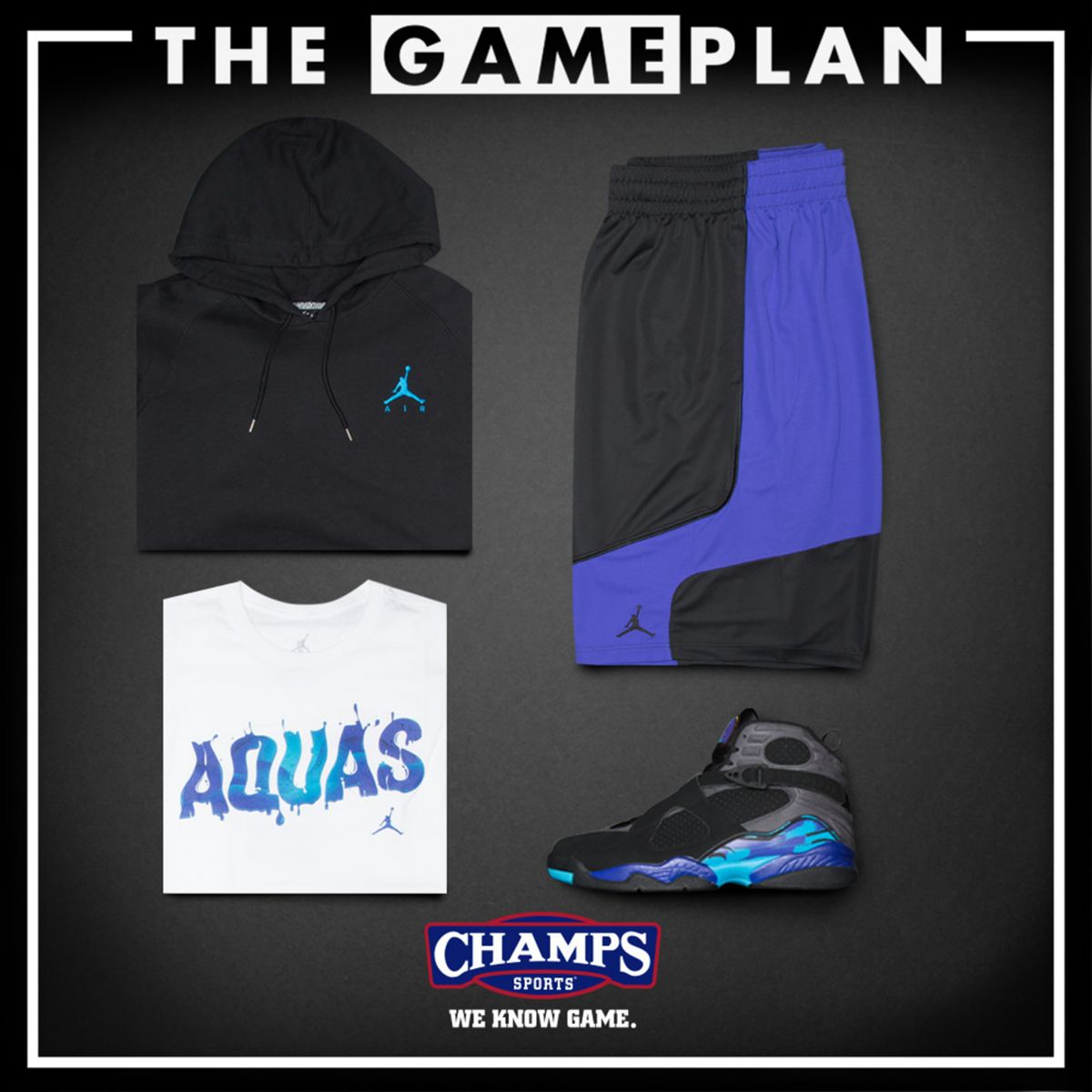 e683ee5ecffef7 The Game Plan by Champs Sports Presents the Jordan  Aqua  Collection ...