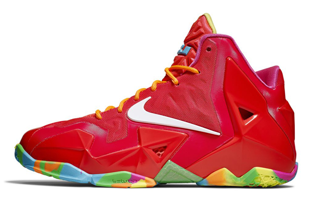 Nike LeBron 11 GS Laser Crimson Fruity Pebbles profile