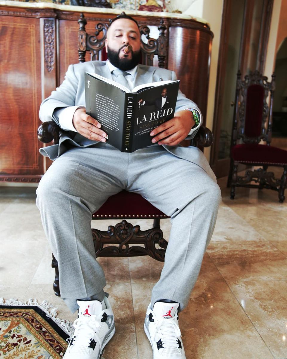 DJ Khaled Wearing the 'Cement' Nike Air Jordan 4 '89