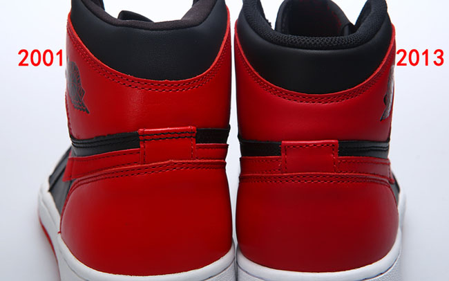 e4f9a2feb225 Air Jordan 1 High OG Black   Red 2001 Vs. 2013 Comparison