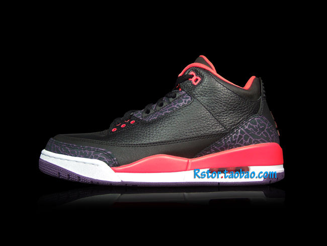 ee12117f57e575 Air Jordan III 3 Black Crimson Purple 136064-005 (1)