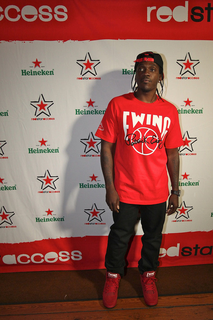 Pusha T wearing Ewing Athletics 33 Hi Red (4)