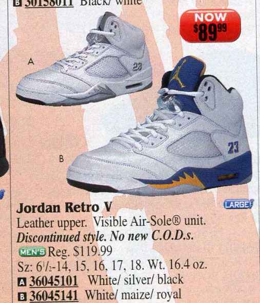 Air Jordan 5 Laney & Metallic in Eastbay 2001