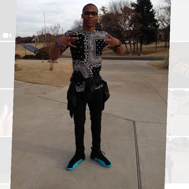 Russell Westbrook wearing Air Jordan 12 Gamma