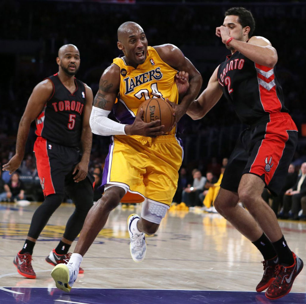Landry Fields & John Lucas wearing Nike Kobe 8 System Year of the Snake; Kobe Bryant wearing Nike Kobe 8 System Home PE