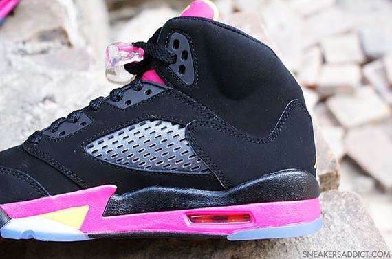 purchase cheap a8a8b f3e76 The Black Bright Citrus-Fusion Pink Air Jordan 5 Retro GS is expected to  hit authorized Jordan Brand accounts this summer.